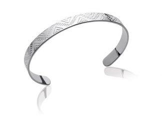 Bracelet jonc argent géométriques