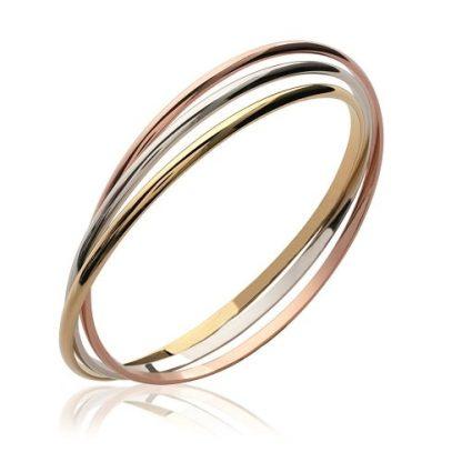 Bracelet jonc or trois anneaux