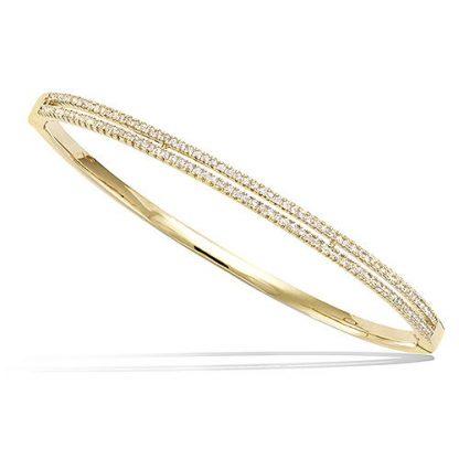 Bracelet jonc or double lignes