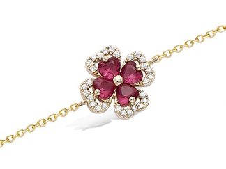 Bracelet or trèfle verre rubis