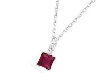 Collier argent rouge rubis carré
