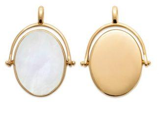 Pendentif or ovale nacre