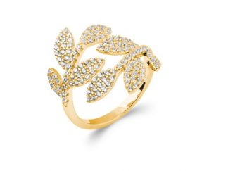 Bague or feuillage oxydes