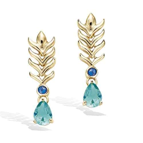 Boucle oreille or plume Paon