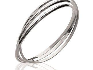 Bracelet jonc argent trois anneaux