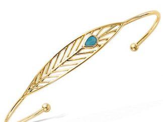 Bracelet jonc or plume turquoise