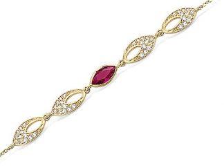 Bracelet or amande rubis