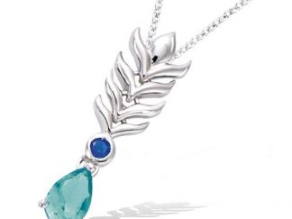 Collier argent plume Paon