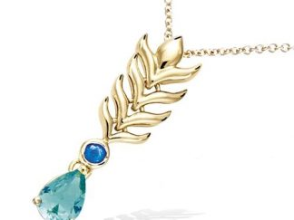 Collier or plume paon verte