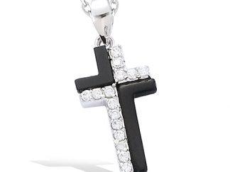 Pendentif argent croix onyx