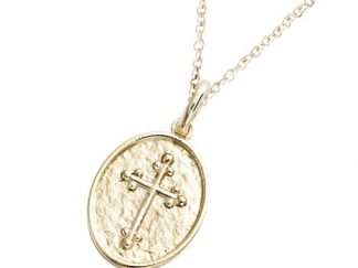 Pendentif or ovale croix