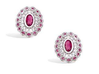 Boucle oreille ovale rubis cz
