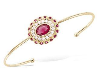 Bracelet jonc or ovale rubis