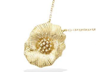 Collier or fleur texturé