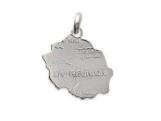 Pendentif argent carte la Réunion