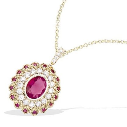 Pendentif or dentelle ovale rubis