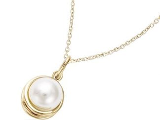 Pendentif or spiral perle blanche