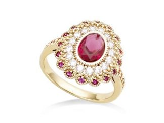 Bague or ovale pierre rubis