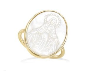 Bague or ovale Vierge Marie