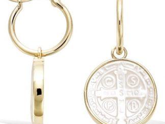 Boucle oreille or croix St Benoit