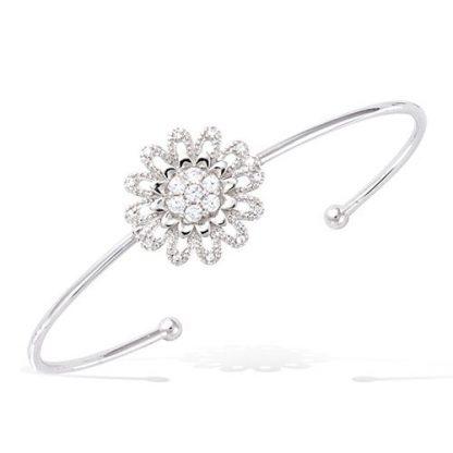 Bracelet jonc argent fleur oxydes