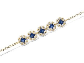 Bracelet or cinq oxydes saphir