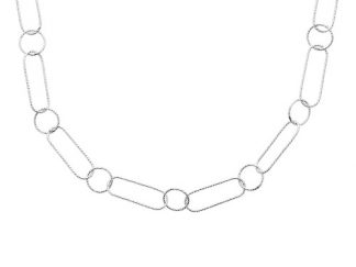 Collier argent rectangle alterné