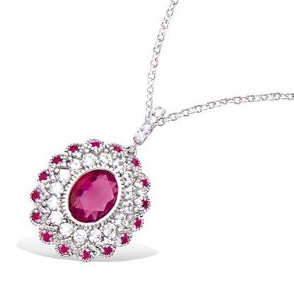 Pendentif argent ovale rubis
