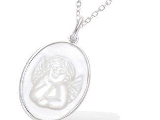 Pendentif argent ovale nacre ange