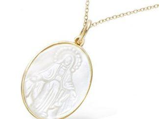 Pendentif or nacre Vierge Marie