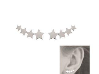 Boucle oreille argent lobe étoiles
