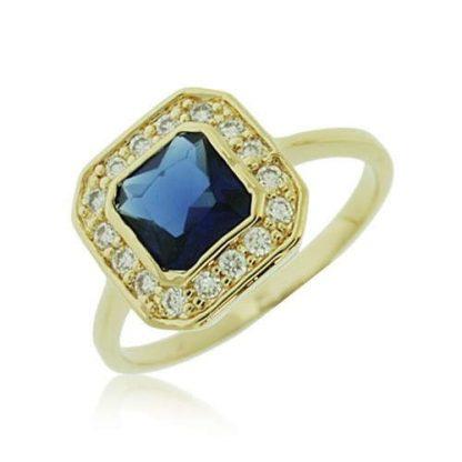 Bague or carrée bleu saphir