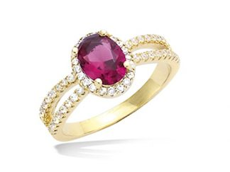 Bague or ovale rubis cz