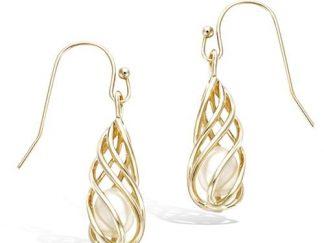 Boucle oreille or torsade perle
