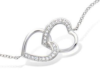 Bracelet argent coeur superposé