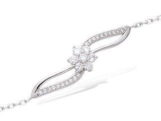 Bracelet argent fleur croisé