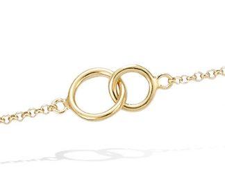 Bracelet or deux anneaux lisse