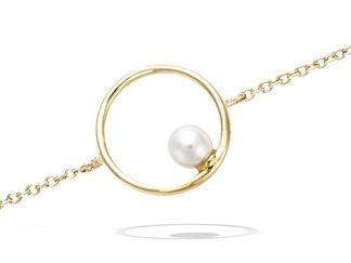 Bracelet or cercle perle blanche