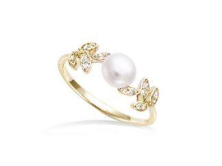 Bague or feuillage perle