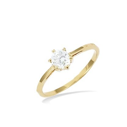 Bague or solitaire oxyde 5mm