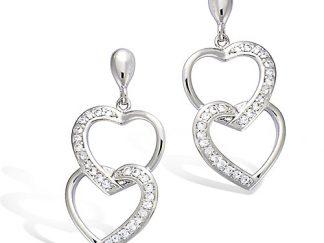 Boucle oreille argent double coeur
