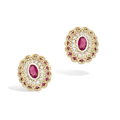 Boucle oreille or ovale rubis