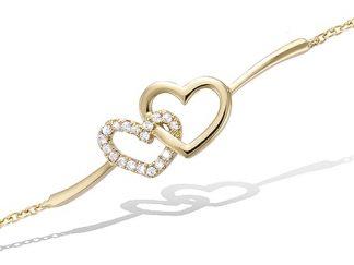 Bracelet or coeur entrelacs oxydes