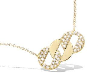 Collier or trois anneaux tressés