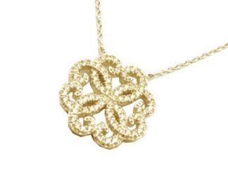 Collier or fleur arabesque oxydes