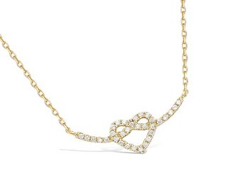 Collier or noeux coeur oxydes