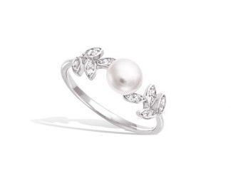 Bague argent feuillage perle