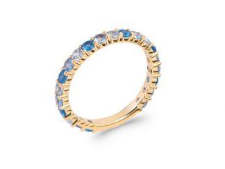 Bague or fine bleu multicolore oz