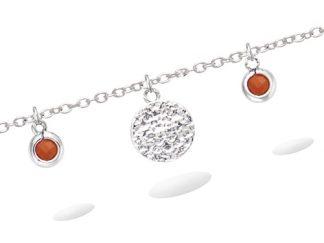 Bracelet argent pampille corail