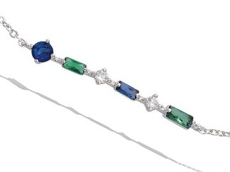 Bracelet argent saphir émeraude